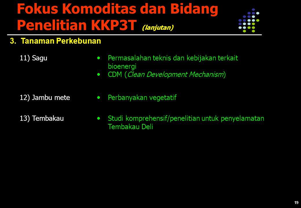 19 Fokus Komoditas dan Bidang Penelitian KKP3T 3.