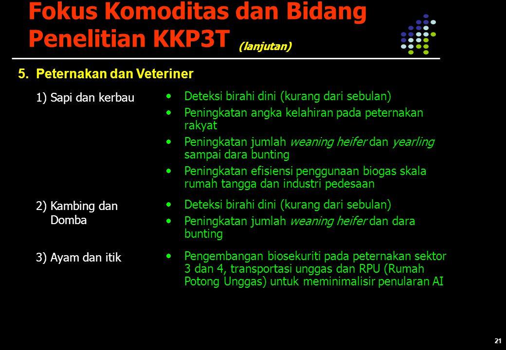 21 Fokus Komoditas dan Bidang Penelitian KKP3T 5.