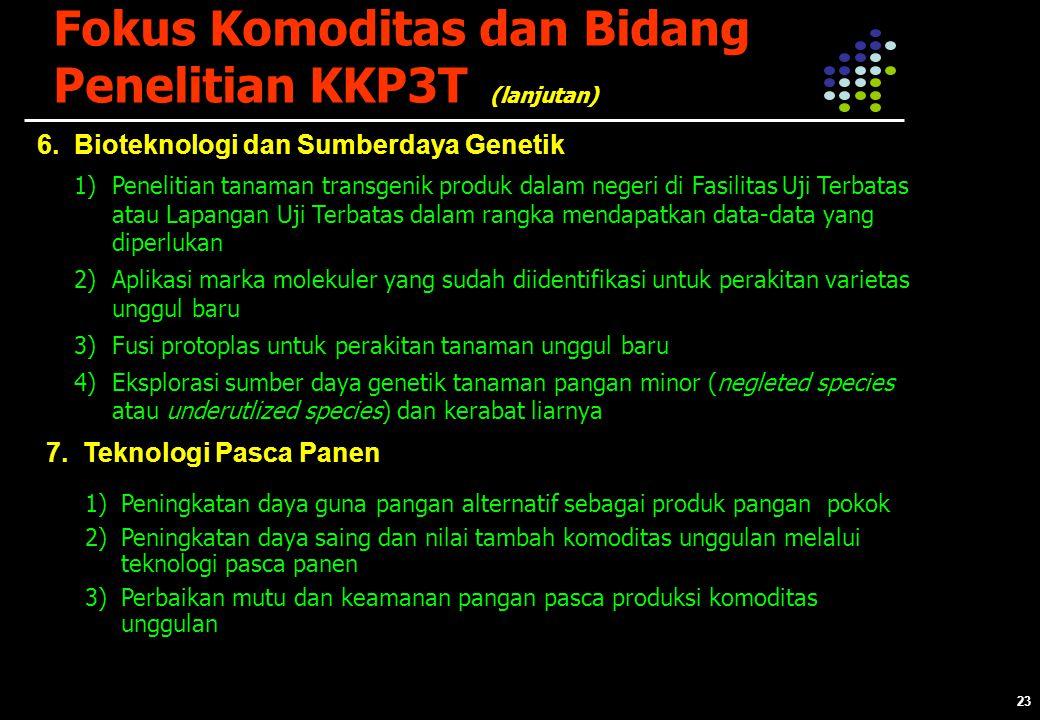 23 Fokus Komoditas dan Bidang Penelitian KKP3T 6.