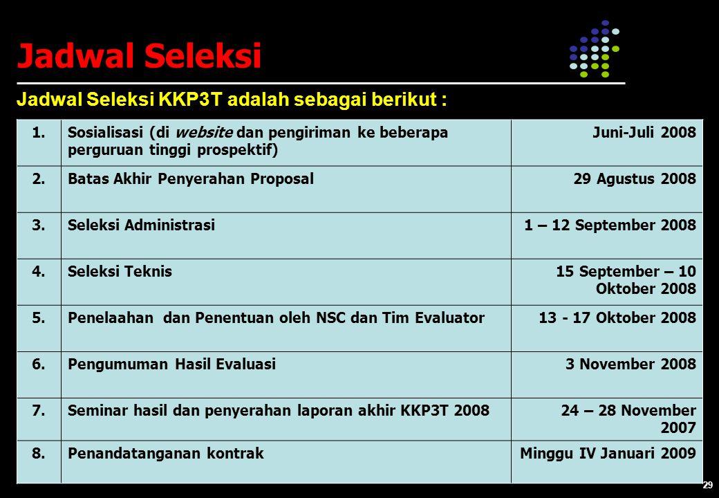 29 Jadwal Seleksi Jadwal Seleksi KKP3T adalah sebagai berikut : 1.Sosialisasi (di website dan pengiriman ke beberapa perguruan tinggi prospektif) Juni-Juli 2008 2.Batas Akhir Penyerahan Proposal29 Agustus 2008 3.Seleksi Administrasi1 – 12 September 2008 4.Seleksi Teknis15 September – 10 Oktober 2008 5.Penelaahan dan Penentuan oleh NSC dan Tim Evaluator13 - 17 Oktober 2008 6.Pengumuman Hasil Evaluasi3 November 2008 7.Seminar hasil dan penyerahan laporan akhir KKP3T 200824 – 28 November 2007 8.Penandatanganan kontrakMinggu IV Januari 2009