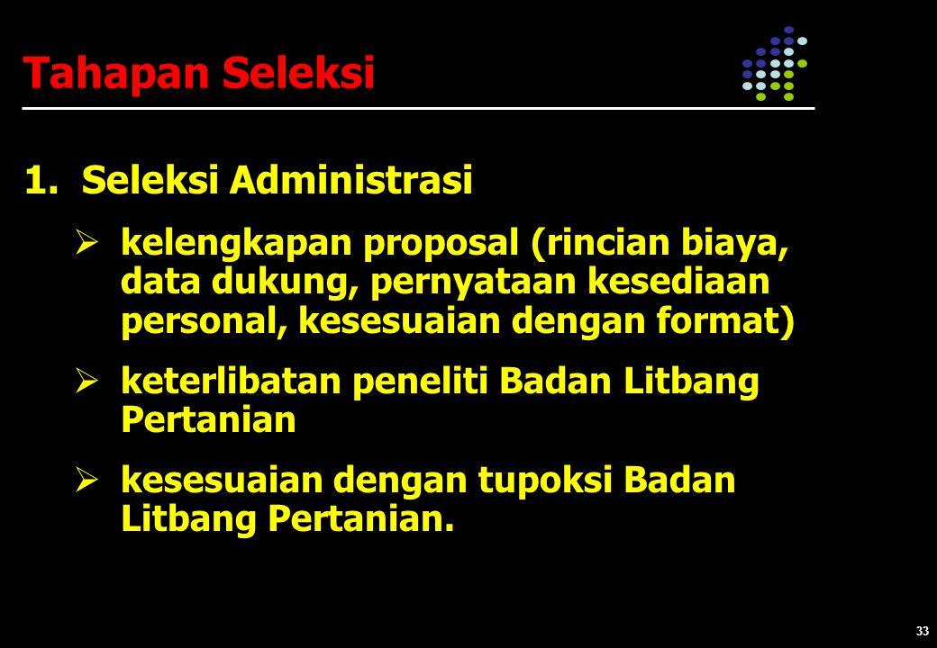 33 Tahapan Seleksi 1.