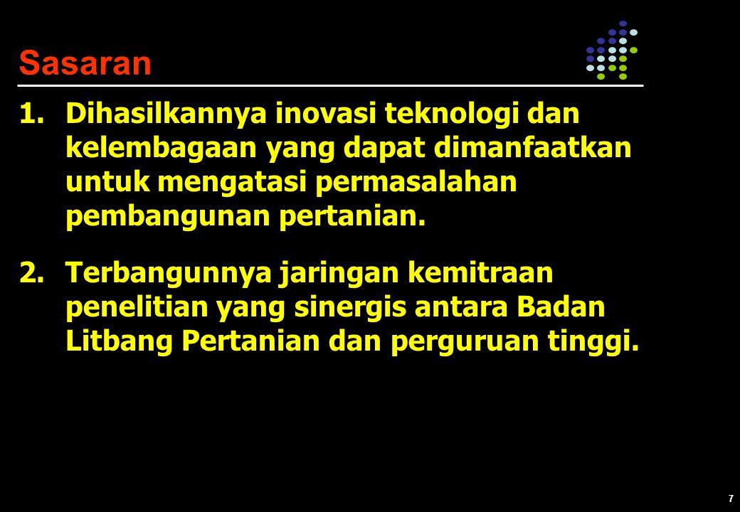 7 1.Dihasilkannya inovasi teknologi dan kelembagaan yang dapat dimanfaatkan untuk mengatasi permasalahan pembangunan pertanian.