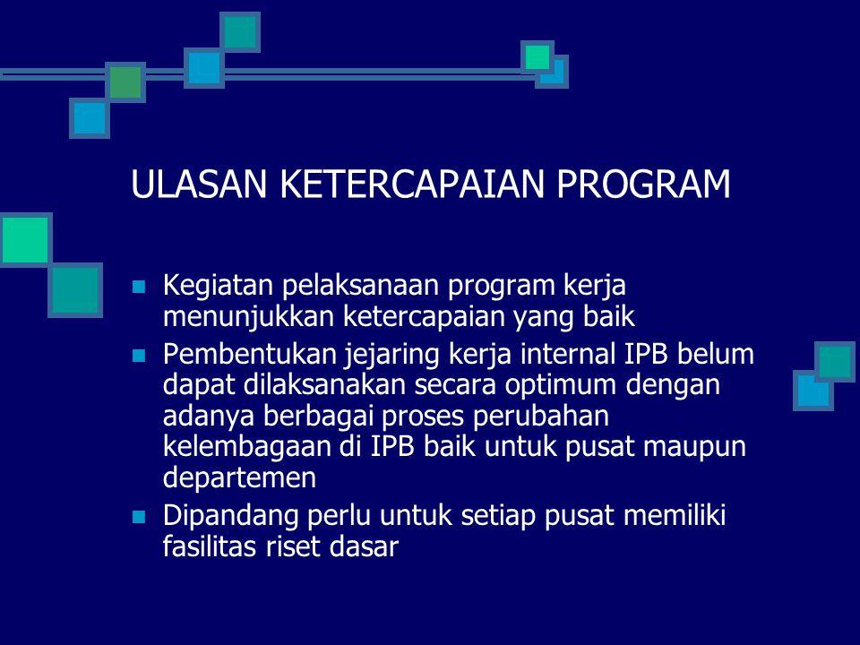 ULASAN KETERCAPAIAN PROGRAM Kegiatan pelaksanaan program kerja menunjukkan ketercapaian yang baik Pembentukan jejaring kerja internal IPB belum dapat