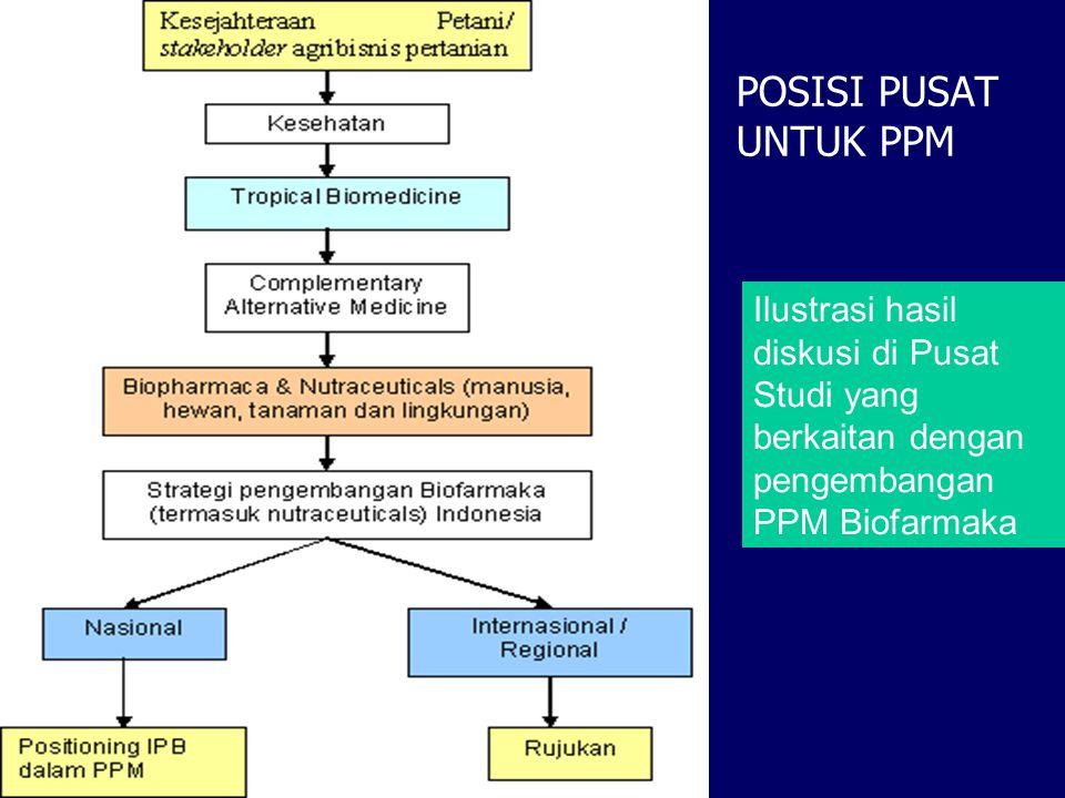 POSISI PUSAT UNTUK PPM Ilustrasi hasil diskusi di Pusat Studi yang berkaitan dengan pengembangan PPM Biofarmaka