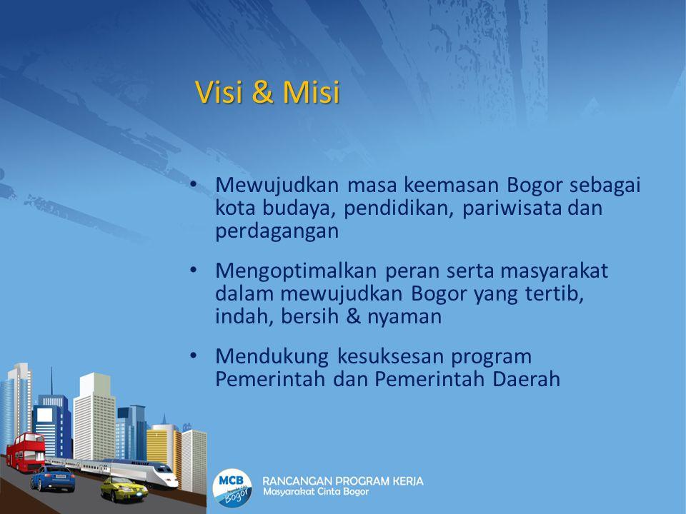 Visi & Misi Mewujudkan masa keemasan Bogor sebagai kota budaya, pendidikan, pariwisata dan perdagangan Mengoptimalkan peran serta masyarakat dalam mew