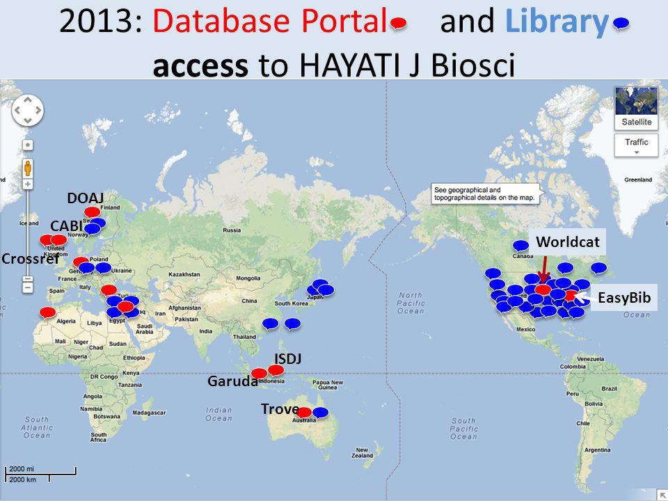 2013: Database Portal and Library access to HAYATI J Biosci DOAJ Crossref CABI Worldcat EasyBib Garuda ISDJ Trove
