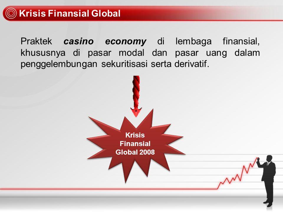 Dampak Krisis Finansial Global Runtuhnya Pasar Finansial Runtuhnya Pasar Finansial Krisis Finansial Global Krisis Finansial Global Daya beli turun Daya beli turun Perdagangan Barang Perdagangan Barang Bail Out Anggaran Negara Anggaran Negara Pinjaman antar bank sulit Pinjaman antar bank sulit Sektor Riel Pengetatan Kredit Pengetatan Kredit Pengangguran + + - + - + - - + - - -