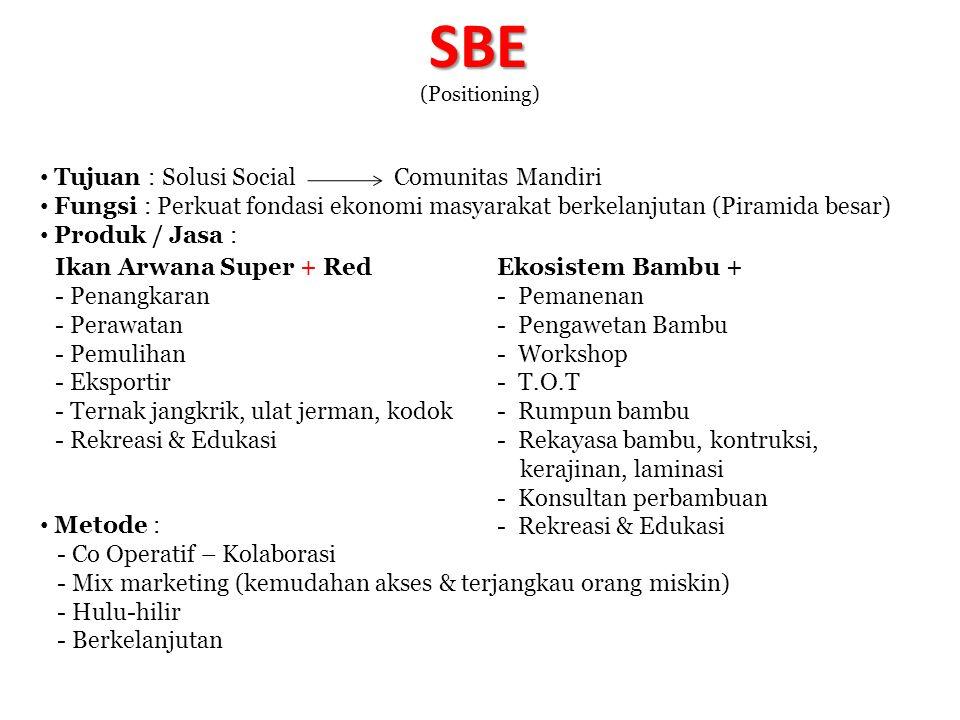 SBE (Positioning) Tujuan : Solusi Social Comunitas Mandiri Fungsi : Perkuat fondasi ekonomi masyarakat berkelanjutan (Piramida besar) Produk / Jasa :