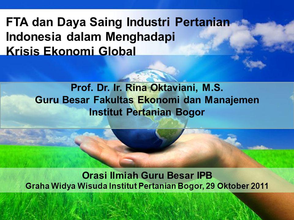 Free Powerpoint Templates Page 1 Free Powerpoint Templates FTA dan Daya Saing Industri Pertanian Indonesia dalam Menghadapi Krisis Ekonomi Global Prof