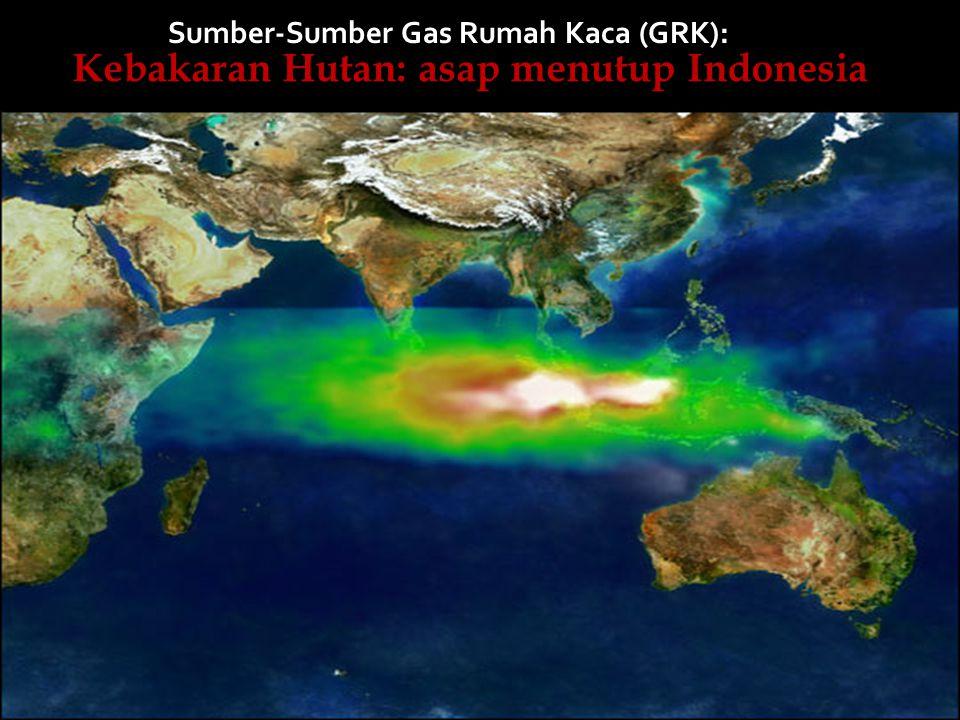 Kebakaran Hutan: asap menutup Indonesia Sumber-Sumber Gas Rumah Kaca (GRK):