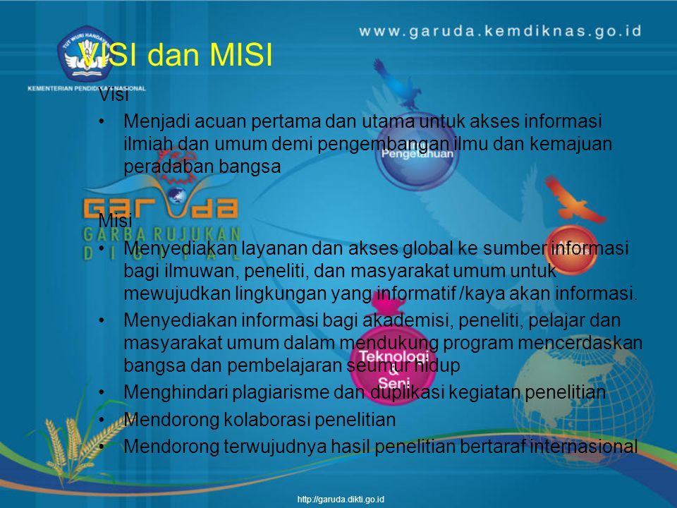 http://garuda.dikti.go.id Deskripsi GARUDA merupakan portal yang memuat dan menyediakan akses terhadap referensi ilmiah dan umum yang dihasilkan oleh