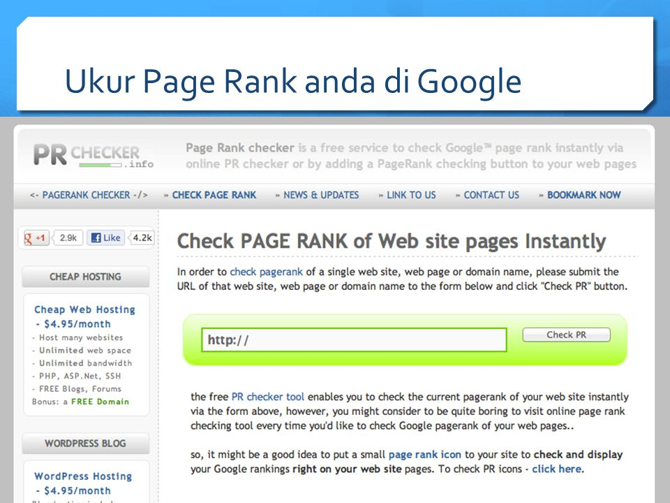 Ukur Page Rank anda di Google