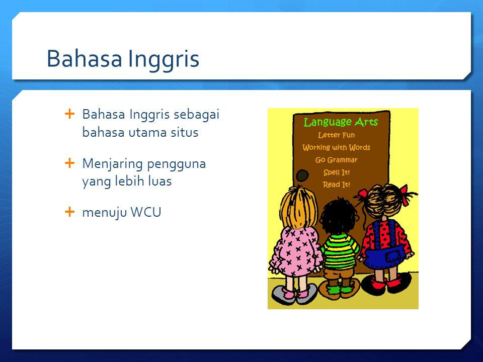 Bahasa Inggris  Bahasa Inggris sebagai bahasa utama situs  Menjaring pengguna yang lebih luas  menuju WCU