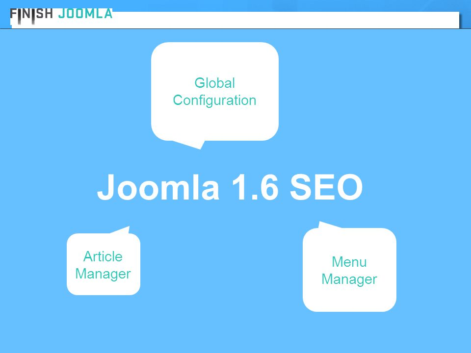 Global Configuration Joomla 1.6 SEO Article Manager Menu Manager