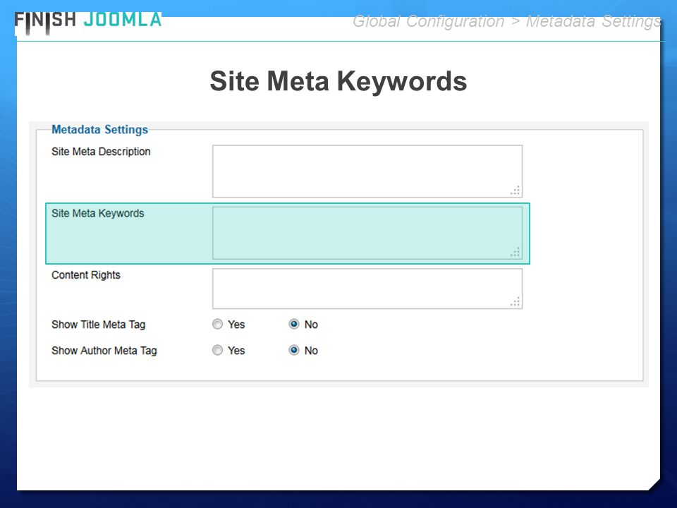 Site Meta Keywords Global Configuration > Metadata Settings