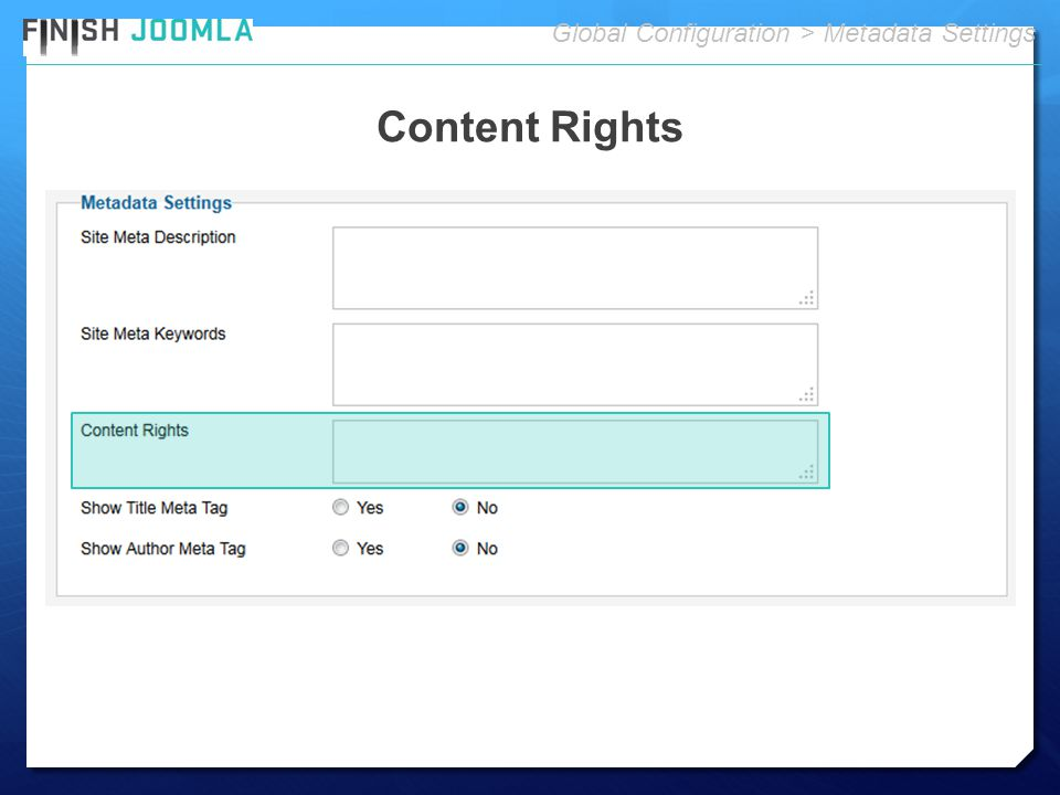Content Rights Global Configuration > Metadata Settings