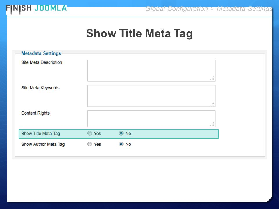 Show Title Meta Tag Global Configuration > Metadata Settings