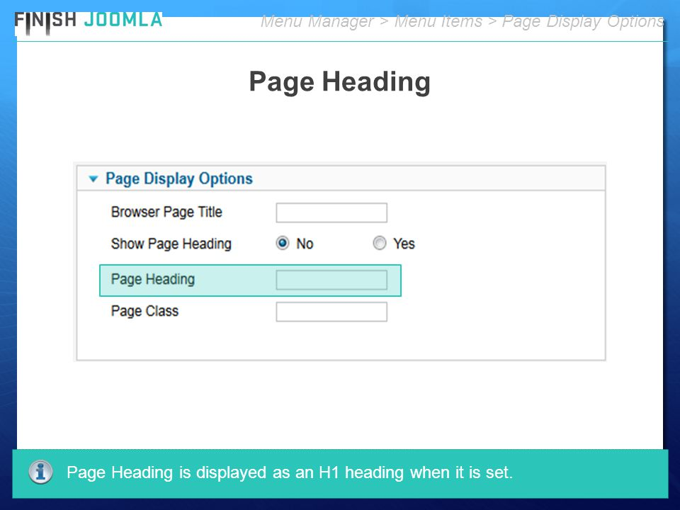 Menu Manager > Menu Items > Page Display Options Page Heading Page Heading is displayed as an H1 heading when it is set.