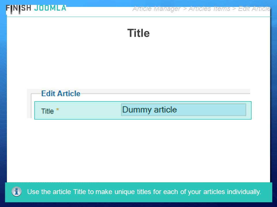 Article Manager > Articles Items > Edit Article Use the article Title to make unique titles for each of your articles individually.