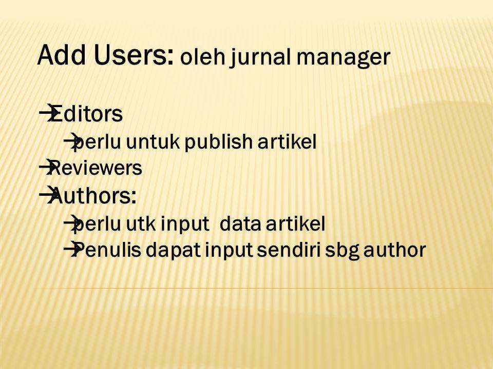 Add Users: oleh jurnal manager  Editors  perlu untuk publish artikel  Reviewers  Authors:  perlu utk input data artikel  Penulis dapat input sen