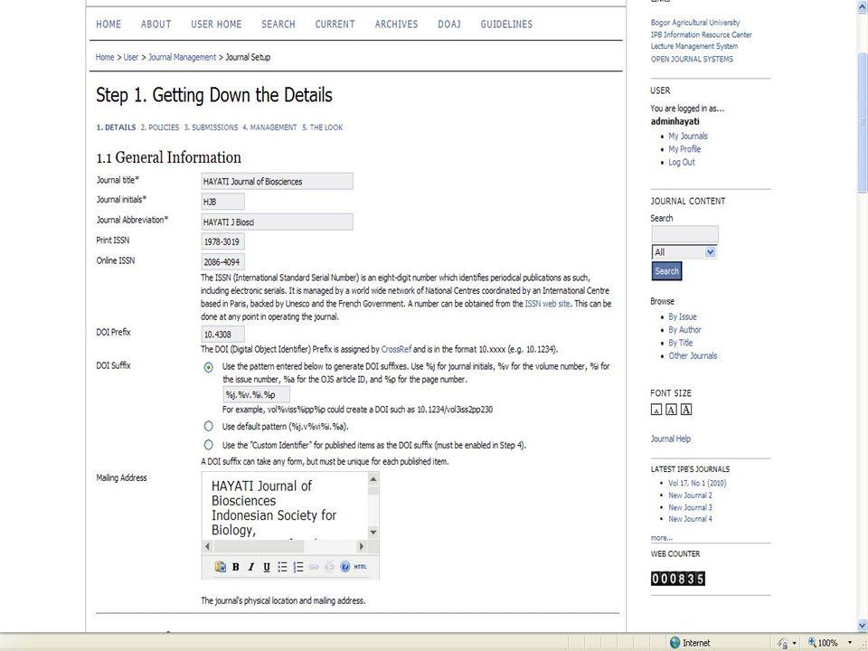 Submit artikel:  Input data artikel hanya dpt dilakukan oleh user author  Data artikel yg di input:  Judul  Nama penulis  Institusi penulis dan negara  Abstrak  Keyword  Fulltext (pdf,ms word, html) dapat diupload dan dapat di set-up untuk diunduh free atau harus berlanggan untuk dapat mengunduhnya
