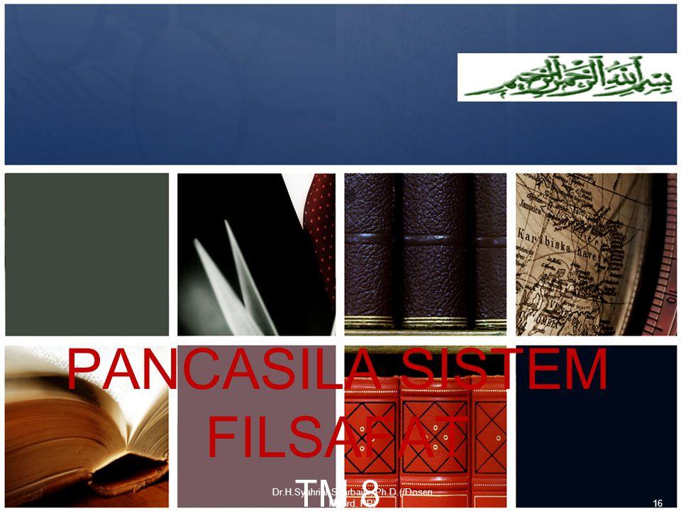 PANCASILA SISTEM FILSAFAT TM 8 Dr.H.Syahrial Syarbaini, Ph.D.(/Dosen Koord. PP)16
