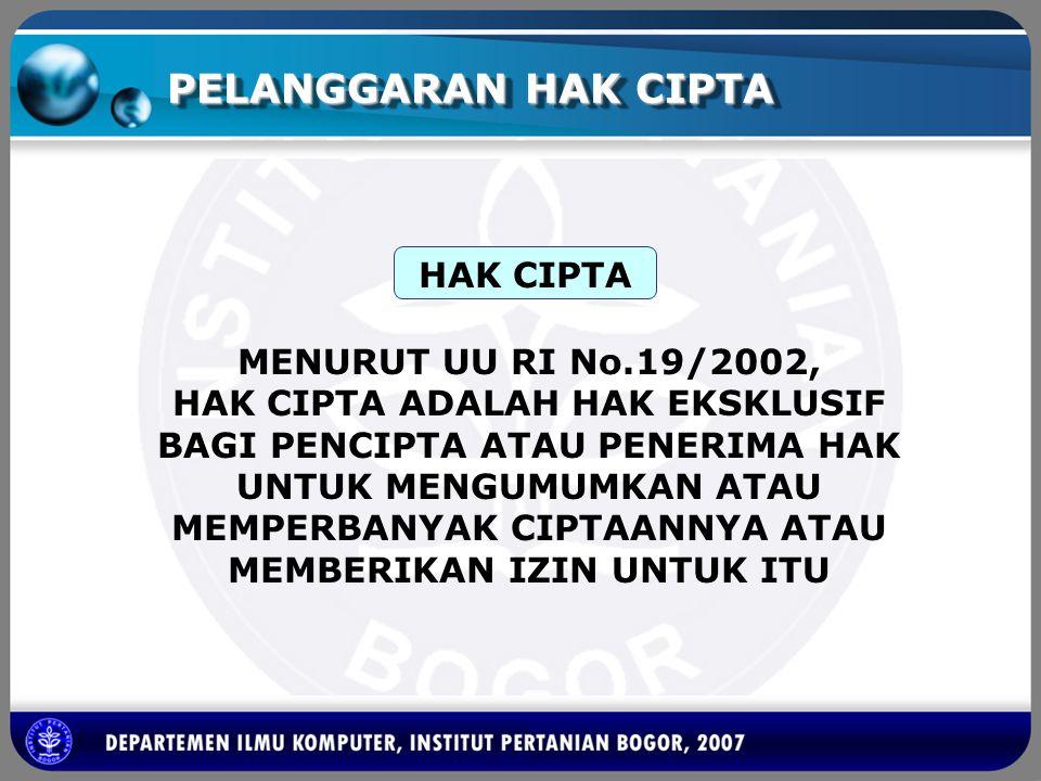 PELANGGARAN HAK CIPTA MENURUT UU RI No.19/2002, HAK CIPTA ADALAH HAK EKSKLUSIF BAGI PENCIPTA ATAU PENERIMA HAK UNTUK MENGUMUMKAN ATAU MEMPERBANYAK CIP