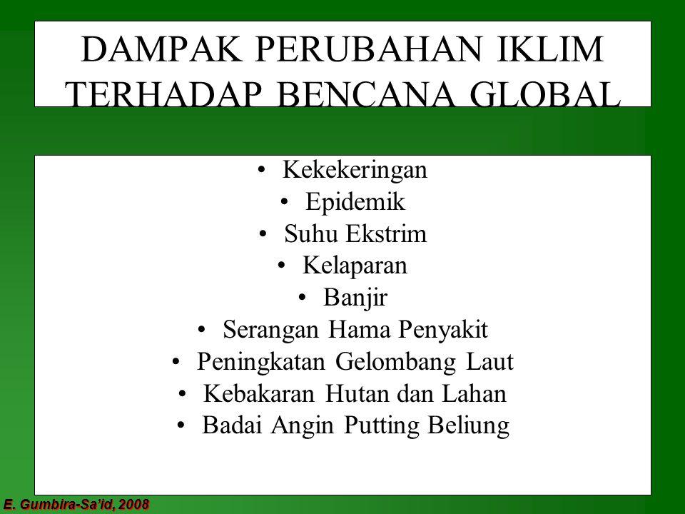 E. Gumbira-Sa'id, 2008 DAMPAK PERUBAHAN IKLIM TERHADAP BENCANA GLOBAL Kekekeringan Epidemik Suhu Ekstrim Kelaparan Banjir Serangan Hama Penyakit Penin