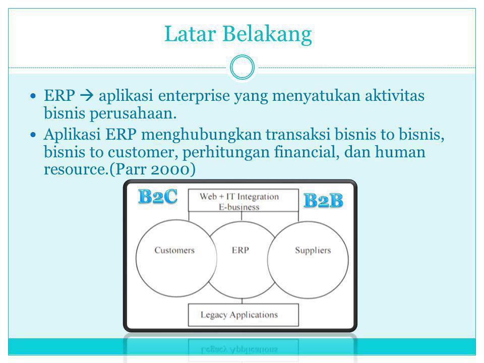 Latar Belakang ERP  aplikasi enterprise yang menyatukan aktivitas bisnis perusahaan. Aplikasi ERP menghubungkan transaksi bisnis to bisnis, bisnis to