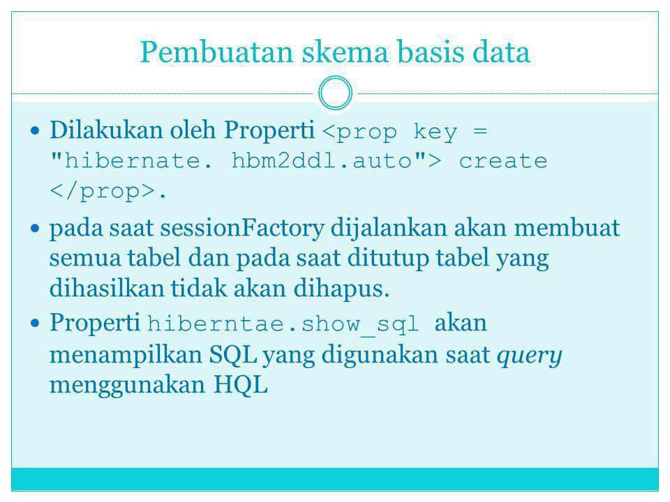 Pembuatan skema basis data Dilakukan oleh Properti create. pada saat sessionFactory dijalankan akan membuat semua tabel dan pada saat ditutup tabel ya
