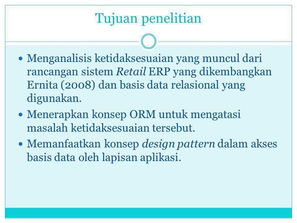 Tujuan penelitian Menganalisis ketidaksesuaian yang muncul dari rancangan sistem Retail ERP yang dikembangkan Ernita (2008) dan basis data relasional