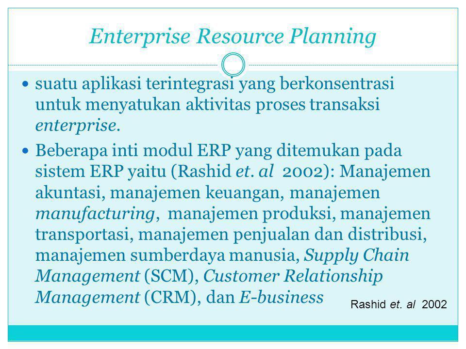 Enterprise Resource Planning suatu aplikasi terintegrasi yang berkonsentrasi untuk menyatukan aktivitas proses transaksi enterprise. Beberapa inti mod