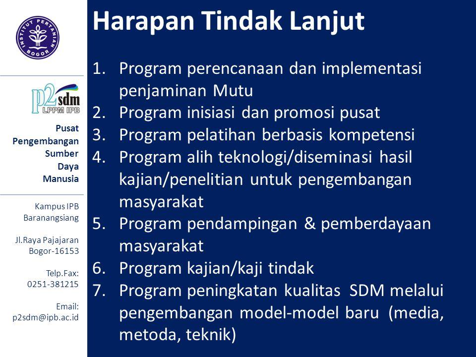Pusat Pengembangan Sumber Daya Manusia Kampus IPB Baranangsiang Jl.Raya Pajajaran Bogor-16153 Telp.Fax: 0251-381215 Email: p2sdm@ipb.ac.id Harapan Tin