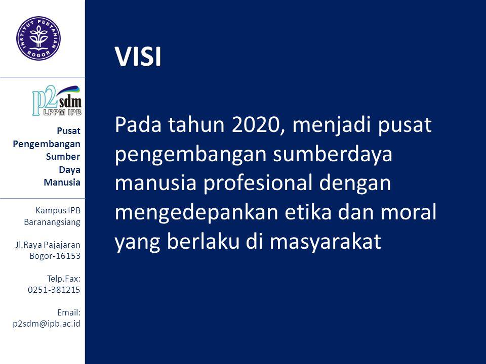 VISI Pada tahun 2020, menjadi pusat pengembangan sumberdaya manusia profesional dengan mengedepankan etika dan moral yang berlaku di masyarakatVISI Pu