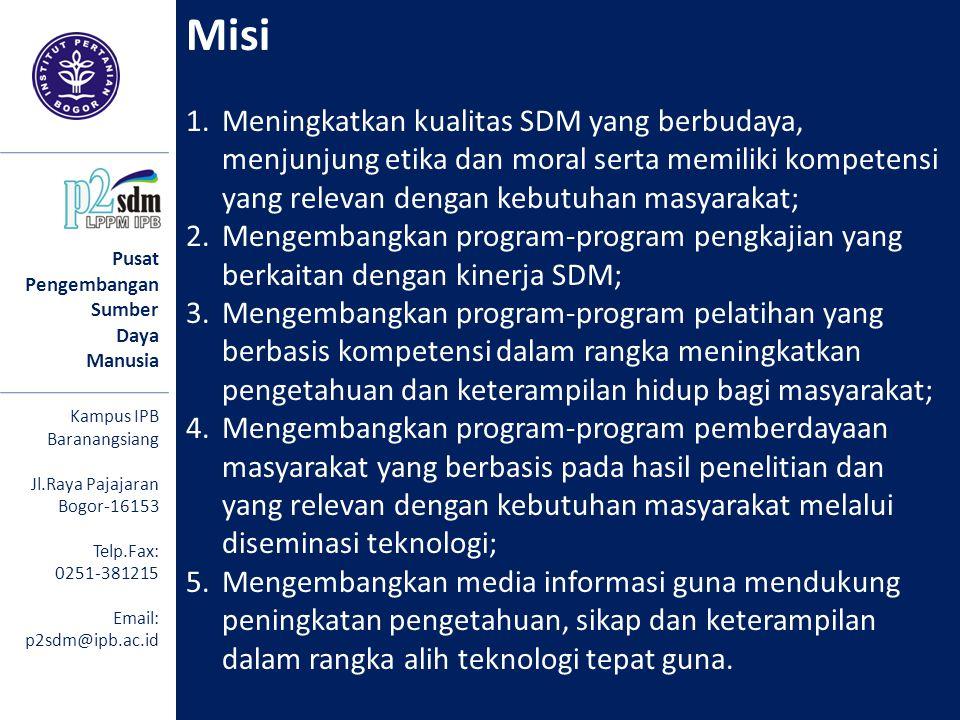 Misi 1.Meningkatkan kualitas SDM yang berbudaya, menjunjung etika dan moral serta memiliki kompetensi yang relevan dengan kebutuhan masyarakat; 2.Meng