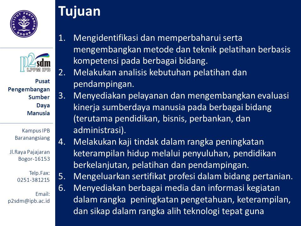 Pusat Pengembangan Sumber Daya Manusia Kampus IPB Baranangsiang Jl.Raya Pajajaran Bogor-16153 Telp.Fax: 0251-381215 Email: p2sdm@ipb.ac.id Tujuan 1.Me