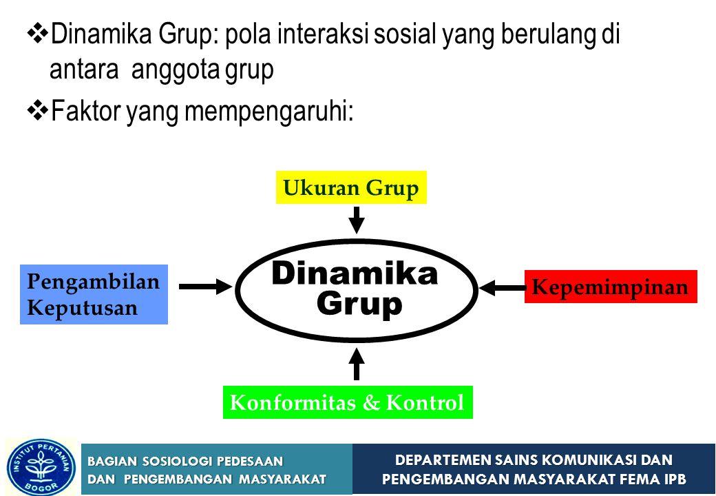 DEPARTEMEN SAINS KOMUNIKASI DAN PENGEMBANGAN MASYARAKAT FEMA IPB BAGIAN SOSIOLOGI PEDESAAN DAN PENGEMBANGAN MASYARAKAT DDinamika Grup: pola interaks