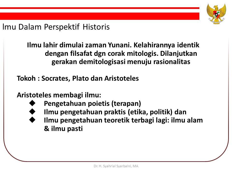 lmu Dalam Perspektif Historis Ilmu lahir dimulai zaman Yunani.