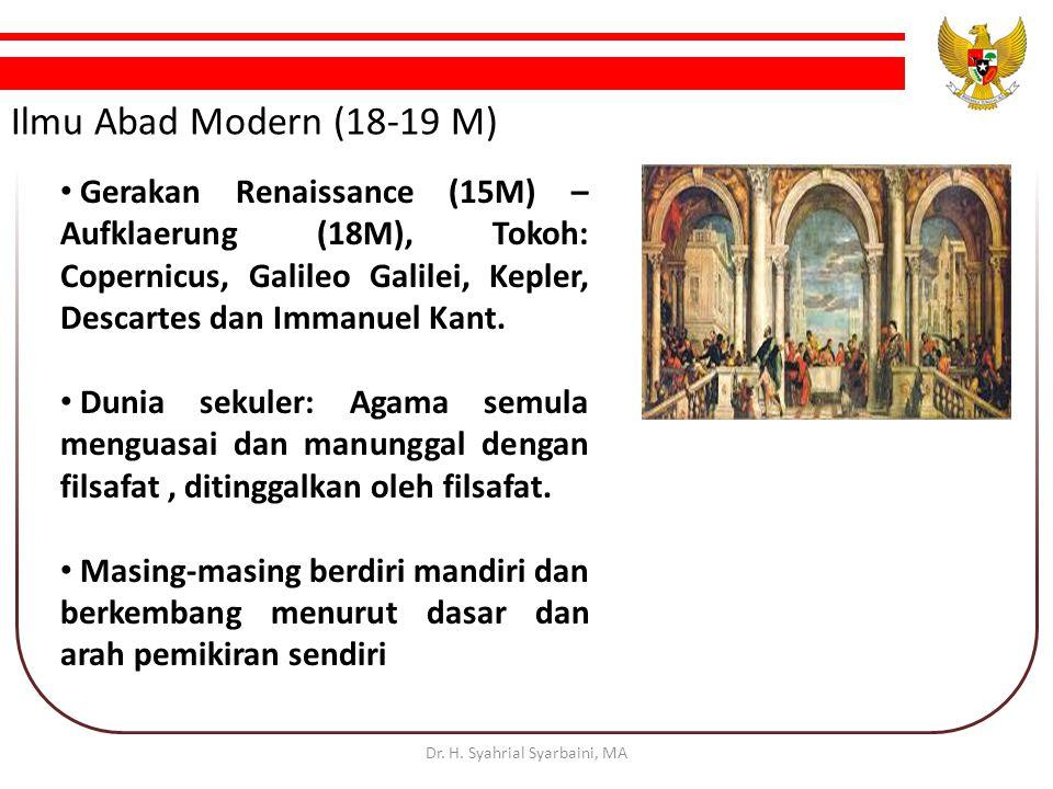 Ilmu Abad Modern (18-19 M) Gerakan Renaissance (15M) – Aufklaerung (18M), Tokoh: Copernicus, Galileo Galilei, Kepler, Descartes dan Immanuel Kant.