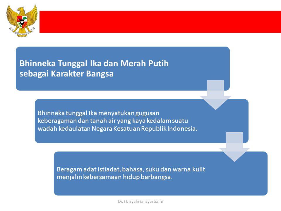 Bhinneka Tunggal Ika dan Merah Putih sebagai Karakter Bangsa Bhinneka tunggal Ika menyatukan gugusan keberagaman dan tanah air yang kaya kedalam suatu wadah kedaulatan Negara Kesatuan Republik Indonesia.