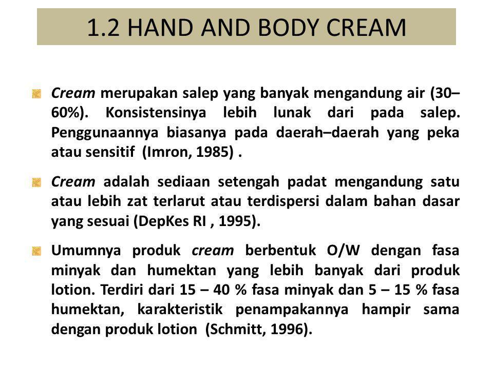 1.2 HAND AND BODY CREAM Cream merupakan salep yang banyak mengandung air (30– 60%). Konsistensinya lebih lunak dari pada salep. Penggunaannya biasanya