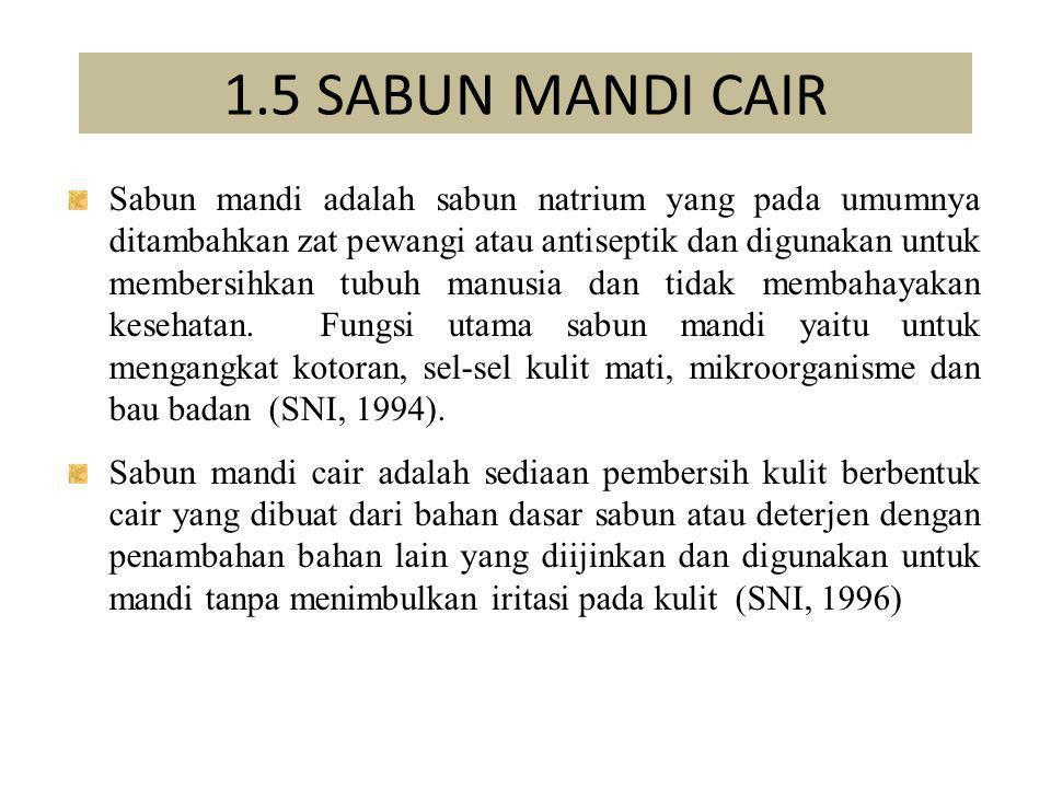 1.5 SABUN MANDI CAIR Sabun mandi adalah sabun natrium yang pada umumnya ditambahkan zat pewangi atau antiseptik dan digunakan untuk membersihkan tubuh