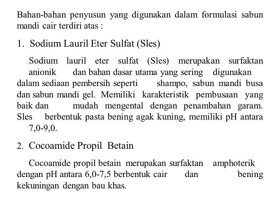 Bahan-bahan penyusun yang digunakan dalam formulasi sabun mandi cair terdiri atas : 1. Sodium Lauril Eter Sulfat (Sles) Sodium lauril eter sulfat (Sle