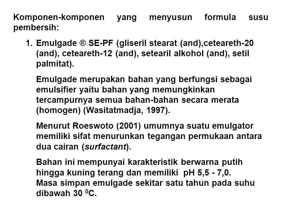 Bahan-bahanKomposisi (%) w/w Natrium lauril eter sulfat Cocamido propil betain PEG-7 gliseril cocoat Sodium klorida Preservatif Bahan pewangi (minyak adas kasar, fraksi terpen, dan terpen-o) Bahan pengental (gelatin) Akuades 28 3 2,5 1 0,02 0,5 ; 1 ; 1,5 1 ; 1,5 ; 2 ditambahkan hingga 100 Total100 Formula Sabun Mandi Cair