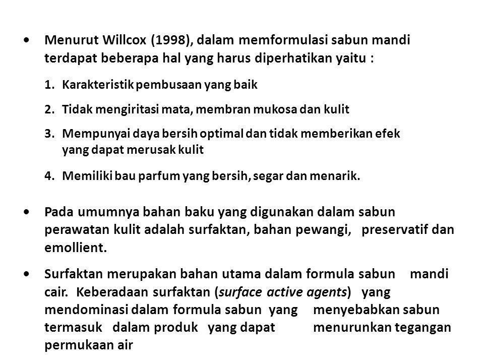 Menurut Willcox (1998), dalam memformulasi sabun mandi terdapat beberapa hal yang harus diperhatikan yaitu : 1.Karakteristik pembusaan yang baik 2.Tid