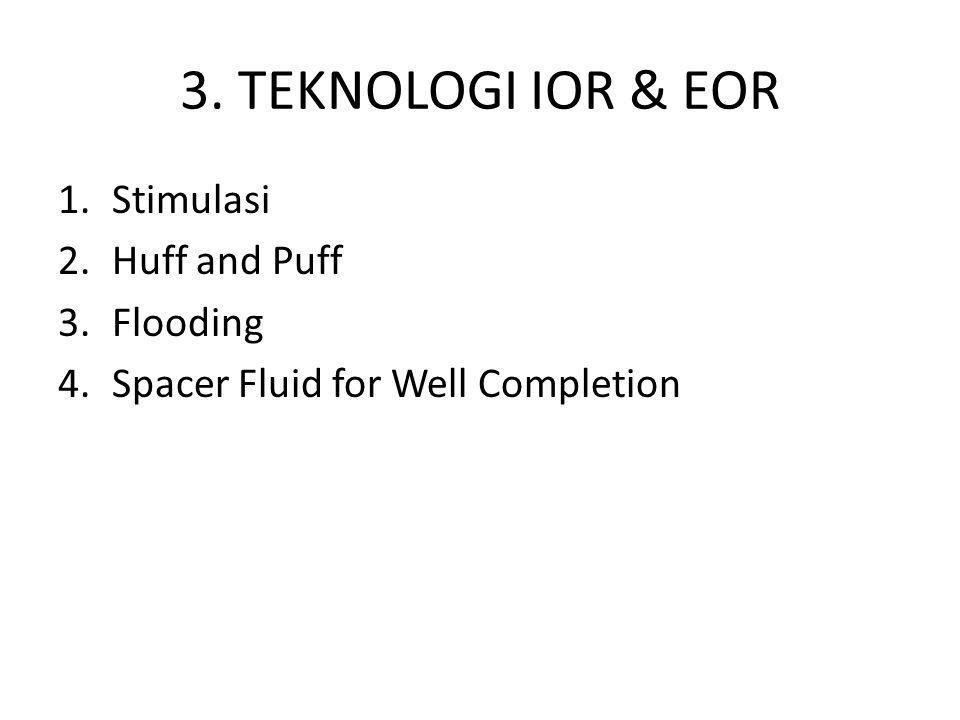 3. TEKNOLOGI IOR & EOR 1.Stimulasi 2.Huff and Puff 3.Flooding 4.Spacer Fluid for Well Completion