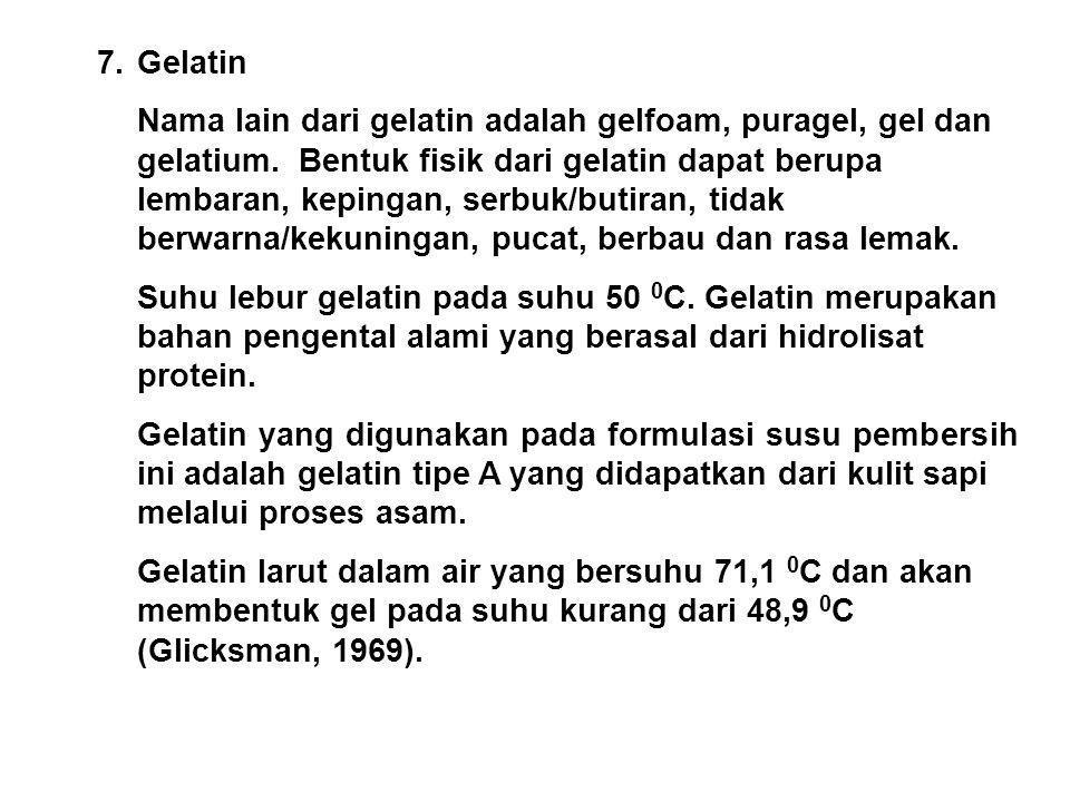 7. Gelatin Nama lain dari gelatin adalah gelfoam, puragel, gel dan gelatium. Bentuk fisik dari gelatin dapat berupa lembaran, kepingan, serbuk/butiran