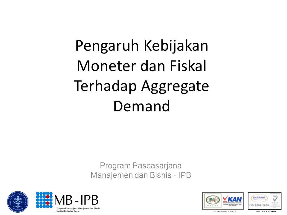 Pengaruh Kebijakan Moneter dan Fiskal Terhadap Aggregate Demand Program Pascasarjana Manajemen dan Bisnis - IPB