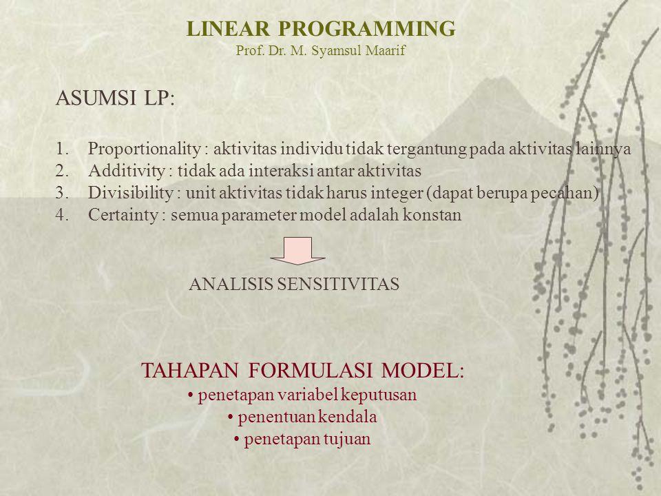 LINEAR PROGRAMMING Prof. Dr. M. Syamsul Maarif ASUMSI LP: 1.Proportionality : aktivitas individu tidak tergantung pada aktivitas lainnya 2.Additivity