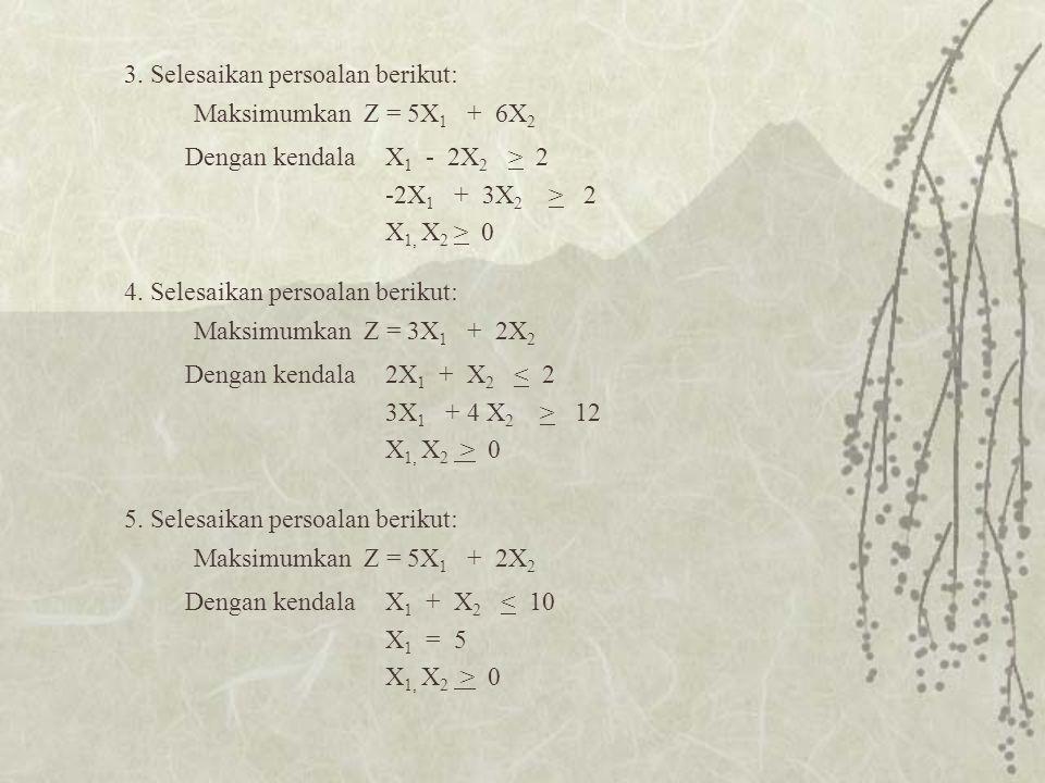 3. Selesaikan persoalan berikut: Maksimumkan Z = 5X 1 + 6X 2 X 1 - 2X 2 > 2 -2X 1 + 3X 2 > 2 X 1, X 2 > 0 Dengan kendala 4. Selesaikan persoalan berik